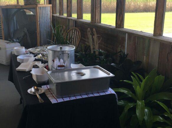 catering setup under pavilion
